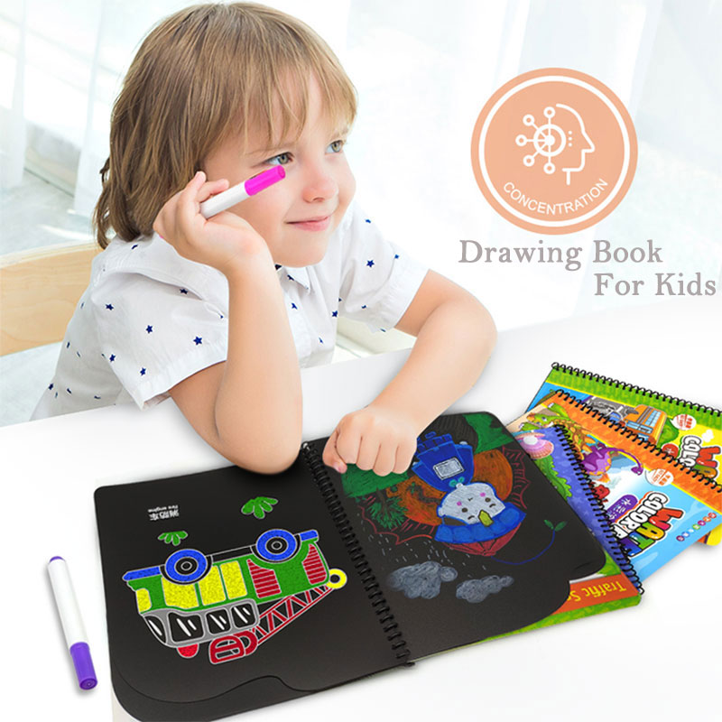 Kids Toy Portable Soft Chalk Board Drawing Book Vehicle Dinosaur Coloring Book DIY Blackboard Painting Drawing Board With Chalks