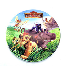 King Lion Simba Theme Paper Plate Guard Disposable Tableware Set Kids Birthday Party Decorations Supplies