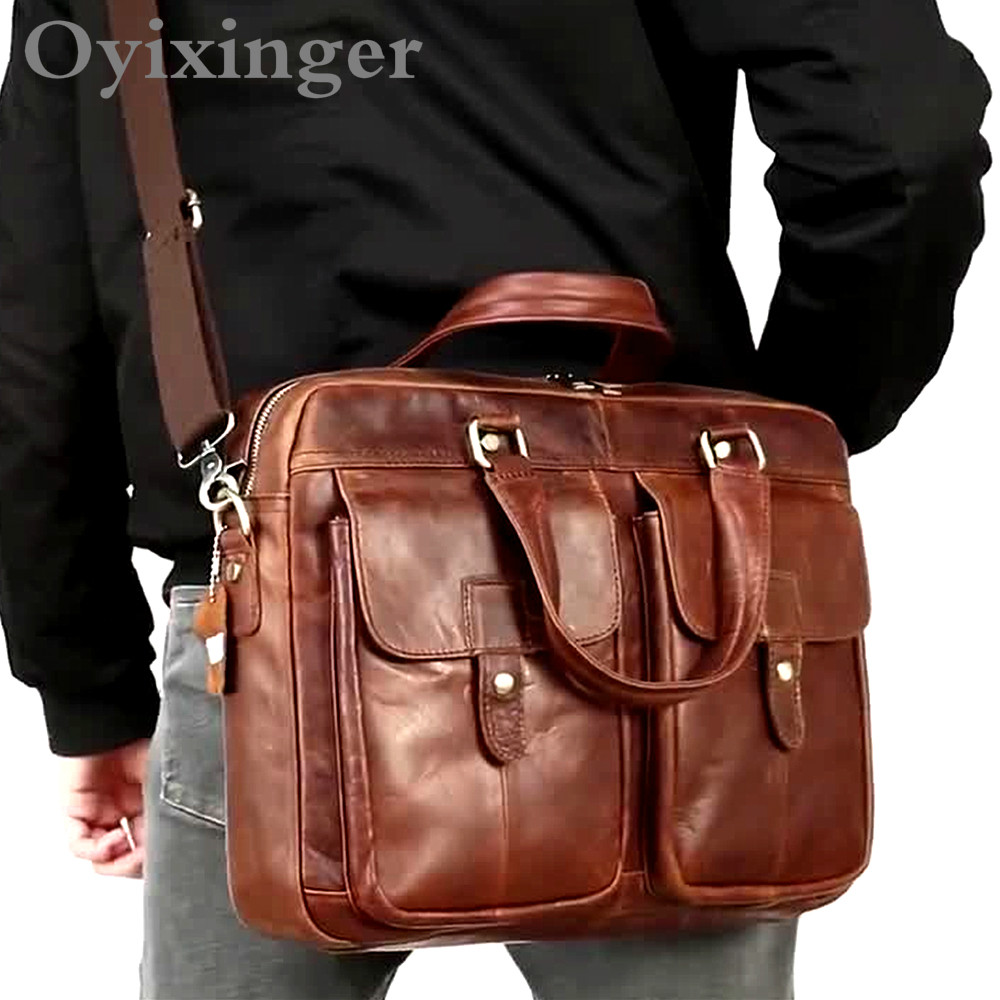 OYIXINGER Men's Briefcase Men Vintage Handbag For Men Leather Laptop Bag Men Leather Porte Document Office Bags For Macbook 15.6
