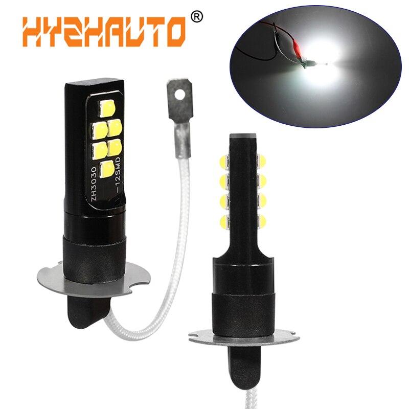 HYZHAUTO 2Pcs H3 LED Fog Lights Newest 3030 SMD 12 LED Car Fog Lamp White Yellow Color Auto DRL Daytime Running Light DC12V-24V