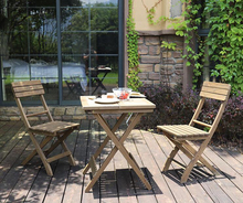 цена на Outdoor portable table chair set solid wood folding table wooden balcony leisure table chair