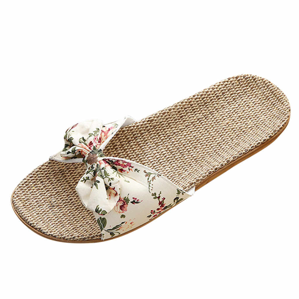 SAGACE ผู้หญิงรองเท้าแตะฤดูร้อนแฟชั่น Casual หญิงโบฮีเมีย Bowknot ผ้าลินินผ้าลินิน Flip Flops แบนแบนชายหาดรองเท้ารองเท้าแตะ 2020X0107