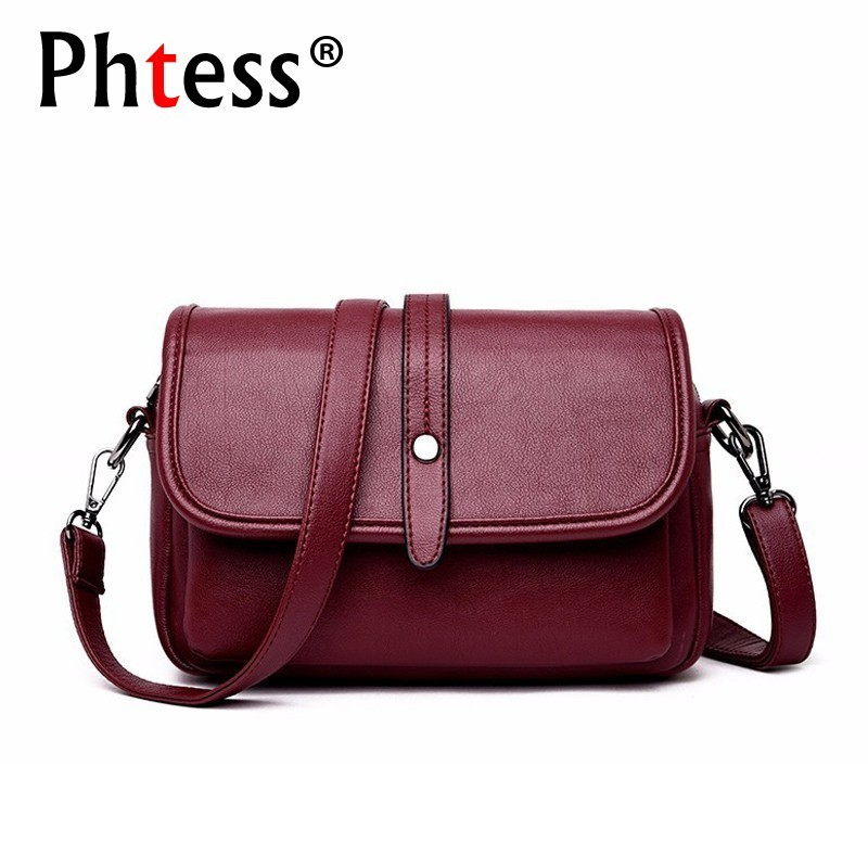 2019 Women Leather Shoulder Bag Solid Sac A Main Simple Style Crossbody Bags For Women Leather Messenger Bags Vintage Handbags