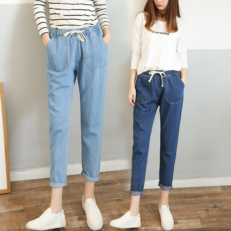 [Multi--Can Fight] 2019 New Style Spring And Summer Elastic Waist Lace-up Super Fire Cowboy WOMEN'S Ninth Pants Loose Harem Pant