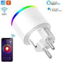 Умная электрическая розетка, Wi-Fi розетка ЕС настенная розетка с Цвет изменение ночной Светильник работать с Tuya Smartlife с Alexa Google Home голосовое