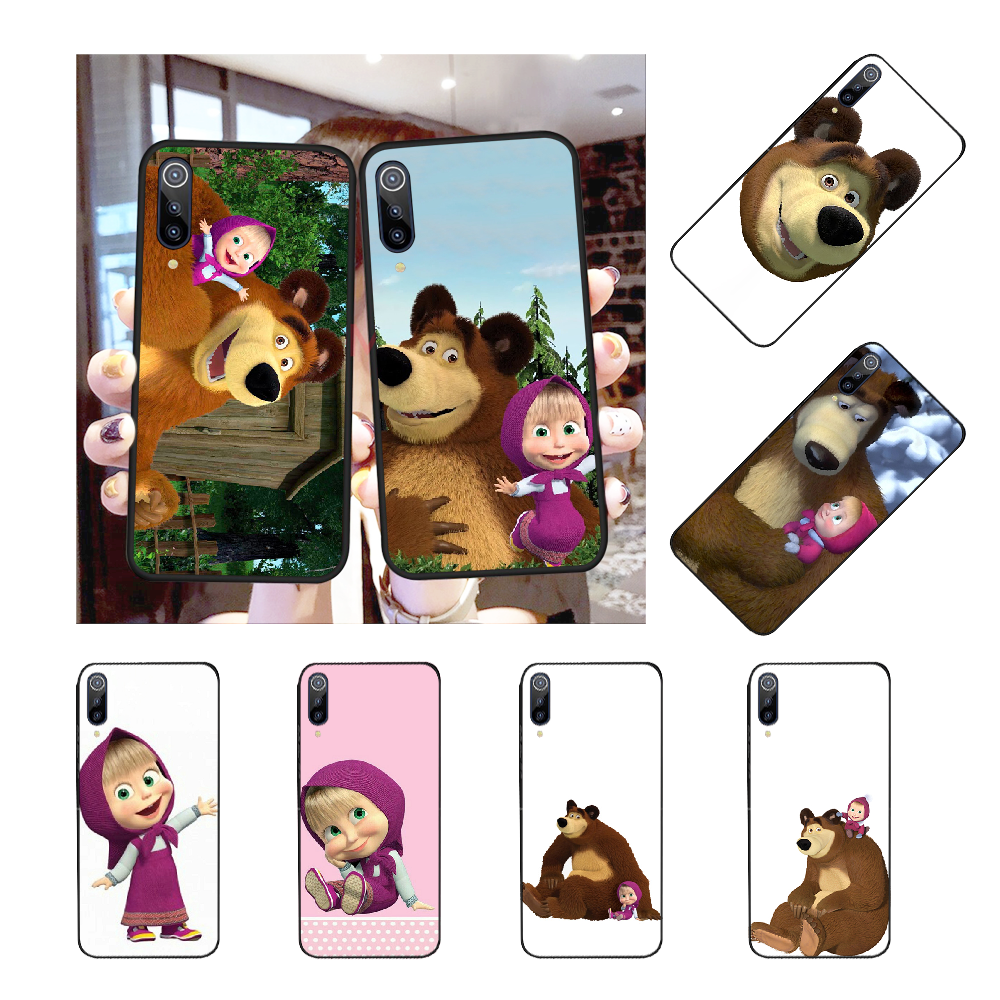 NBDRUICAI Masha and Bear DIY Luxury Phone Case for Xiaomi Mi9 9SE 8SE Pocophone F1 Mi8 Lite