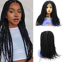 Perruque Lace Front Wig 4x4 tressée en boîte, perruque frontale à dentelle synthétique de 18 pouces avec cheveux de bébé, perruque frontale à dentelle tressée Ombre brune bordeaux pour femmes noires