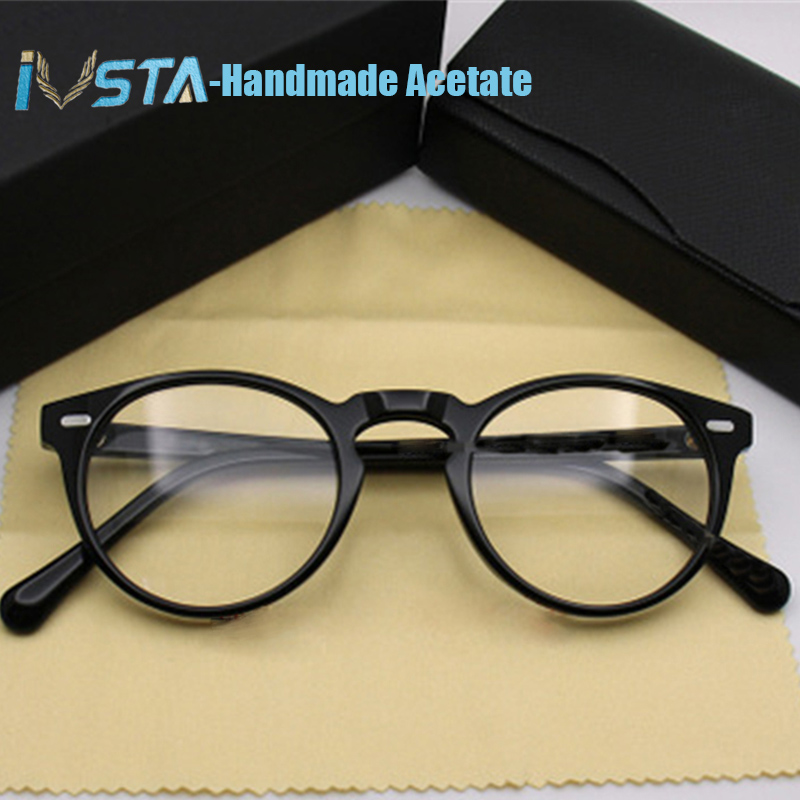 Image 5 - IVSTA OV 5186 with logo Gregory Peck Acetate Glasses Women Round Polarized Sunglasses Brand Designer with Box Myopia Optical-in Men's Eyewear Frames from Apparel Accessories