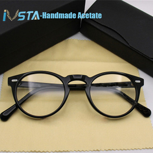 Image 5 - IVSTA OV 5186 with logo Gregory Peck Acetate Glasses Women Round Polarized Sunglasses Brand Designer with Box Myopia Optical