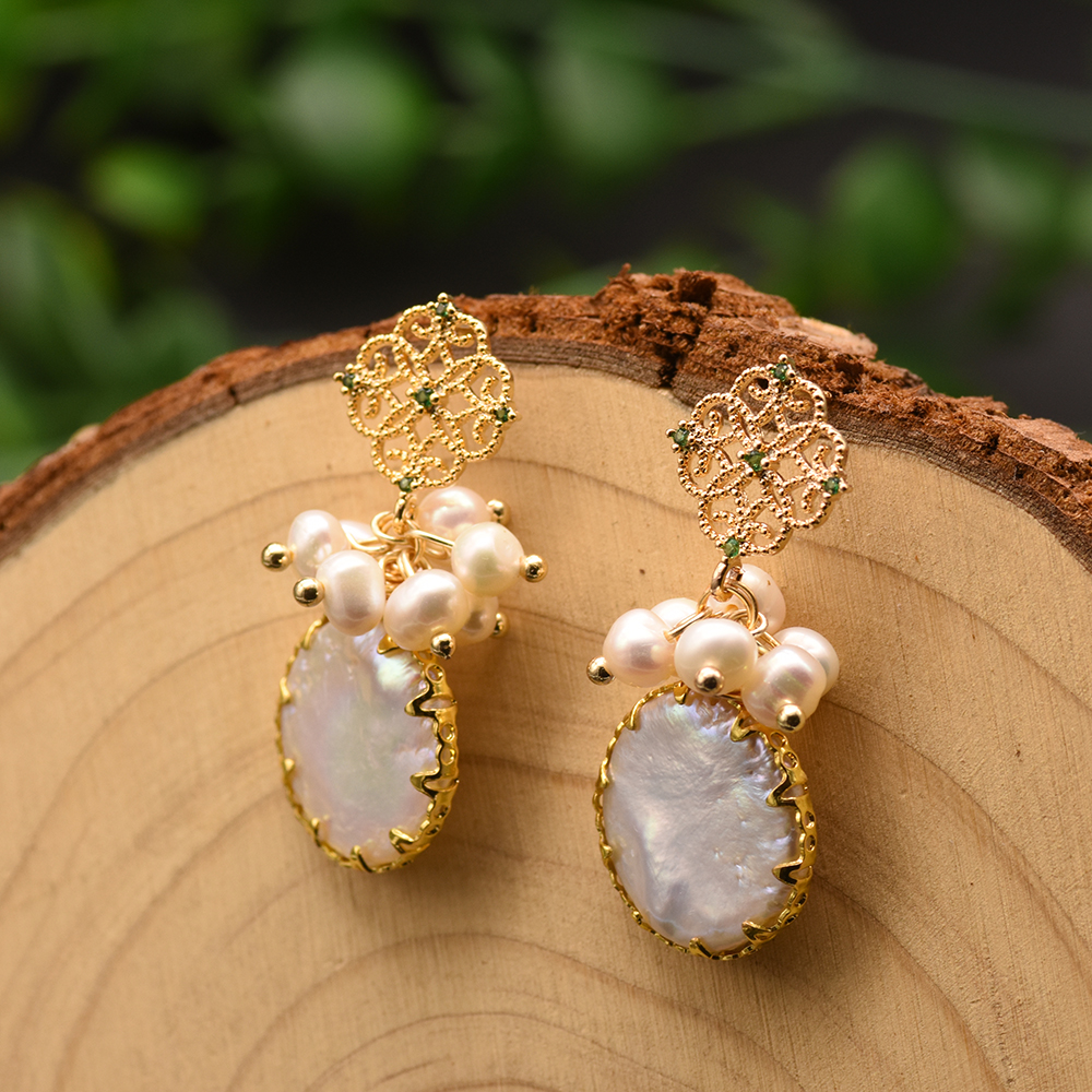 H37a5d59c5e324d02aa1196c481218448T - GLSEEVO Natural Fresh Water Baroque Pearl Earrings For Women Plant Leaves Dangle Earrings Luxury Handmade Fine Jewelry GE0308