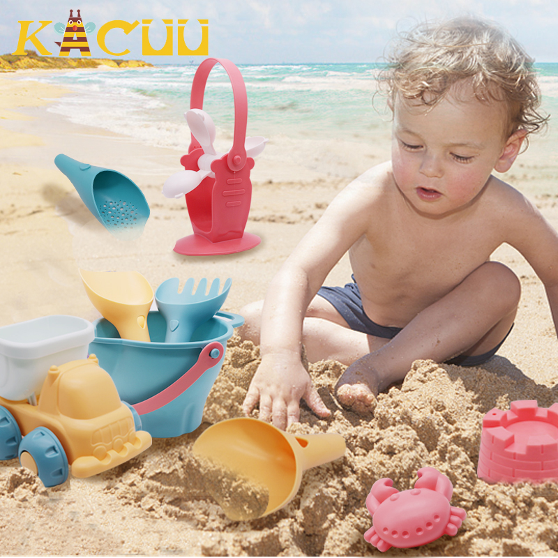Summer Baby Beach Toys Water Game Soft Silicone Sandbox Set Kit Sea Sand Molds Bucket Mesh Bag Tool Outdoor Play Toys For Kids