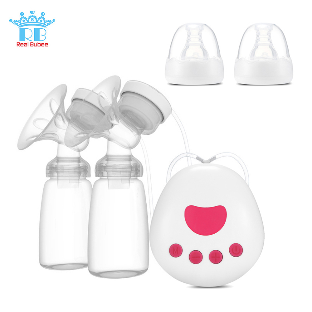 Real Bubee 2 In 1 Double/Single Electric Breast Pump USB Silicone Baby Breast Pumps For Mother With 150ml Baby Feeding Bottle