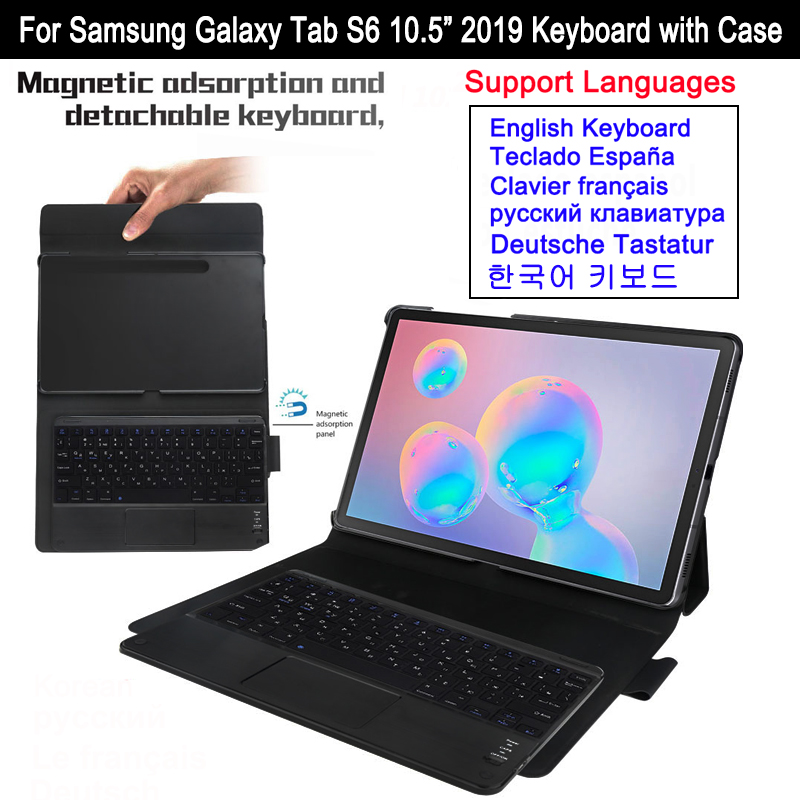 For Samsung Galaxy Tab S6 10.5 SM-T860 T865 2019 Magnetic Detachable Bluetooth Keyboard Case Leather Tablet Protective Cover image