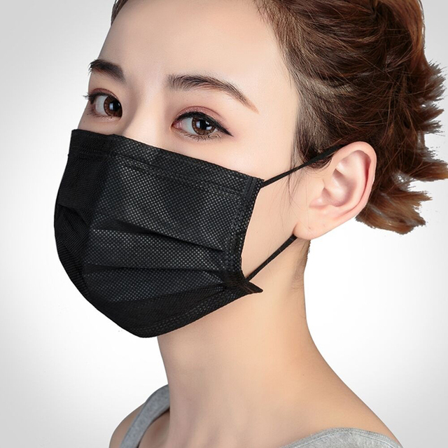 5pcs-100pcs High-quality Non-Woven Fabric Meltblown Cloth Adult Disposable Black Mask Filter Face Mask Black Masks 1