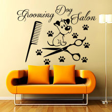Grooming Dog Salon Wall Decals Vinyl Removable Paw Print Comb Shears And Cute Puppy Wall Stickers Living Room(China)