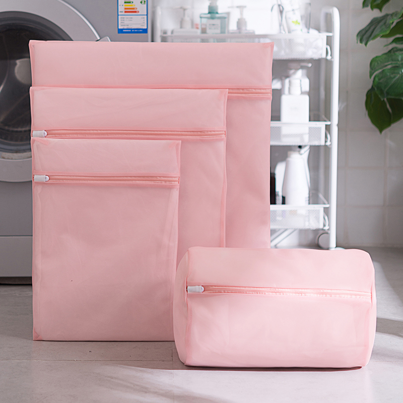 Pink Fine Mesh Lingerie Laundry Bag 5 Size Auto-lock Zipper Delicate Washing Bag Home Necessarie Lingerie Bra Shoe Wash Bag