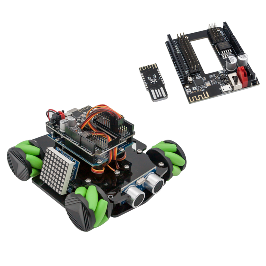 DIY Obstacle Avoidance Smart Programmable Robot Car Educational Learning Kit With Mecanum Wheels For Arduino - Set C