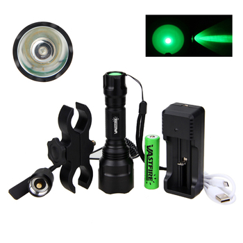 5000 Lumen Led Flashlight White/Green/Red Tactical Hunting Rifle Lantern Outdoor Portable Torch+18650+Charger+Switch+Rfile Mount 6