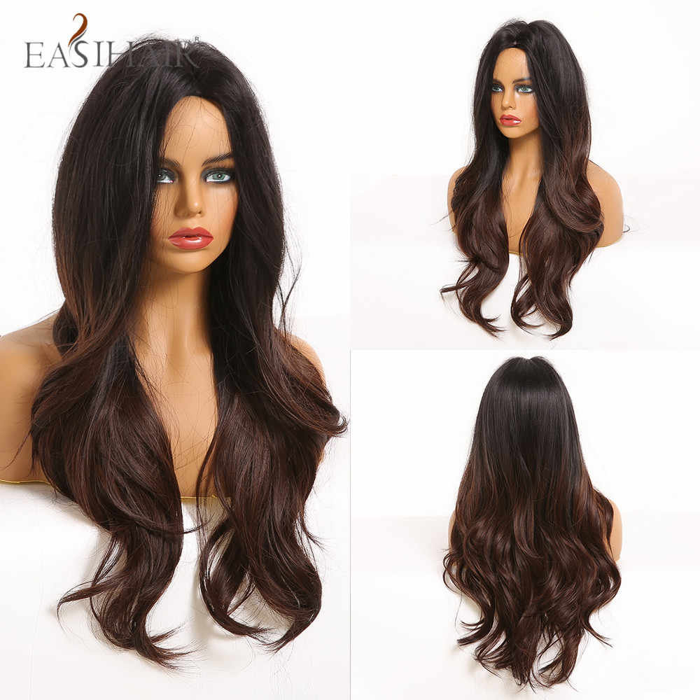 Светлый длинный волнистый парик, черный, темно-коричневый, Омбре, косплей, натуральная средняя часть, термостойкие синтетические парики для черных женщин Bralizan