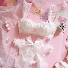 Giovane ragazza giapponese Lolita fiore matrimonio sposa petalo pizzo reggiseno e slip Set volant da donna Push Up Set di biancheria intima con ferretto