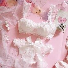 Young Girl Japanese Lolita Flower wedding Bride Petal Lace Bra & Brief Sets Womens Ruffle Push Up Underwire Underwear Set