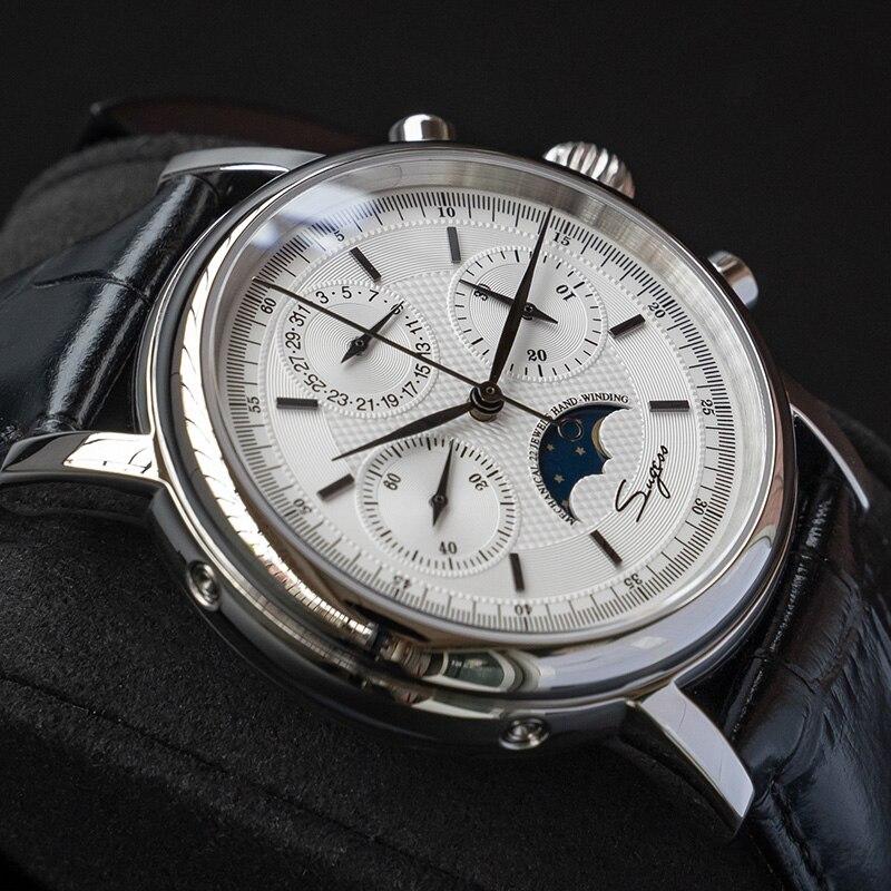 Men's Mechanical Seagull Movement Chronograph Watch Sapphire Moon Phase Wrist Watch Luxury Waterproof Numeral Zegarek Meski