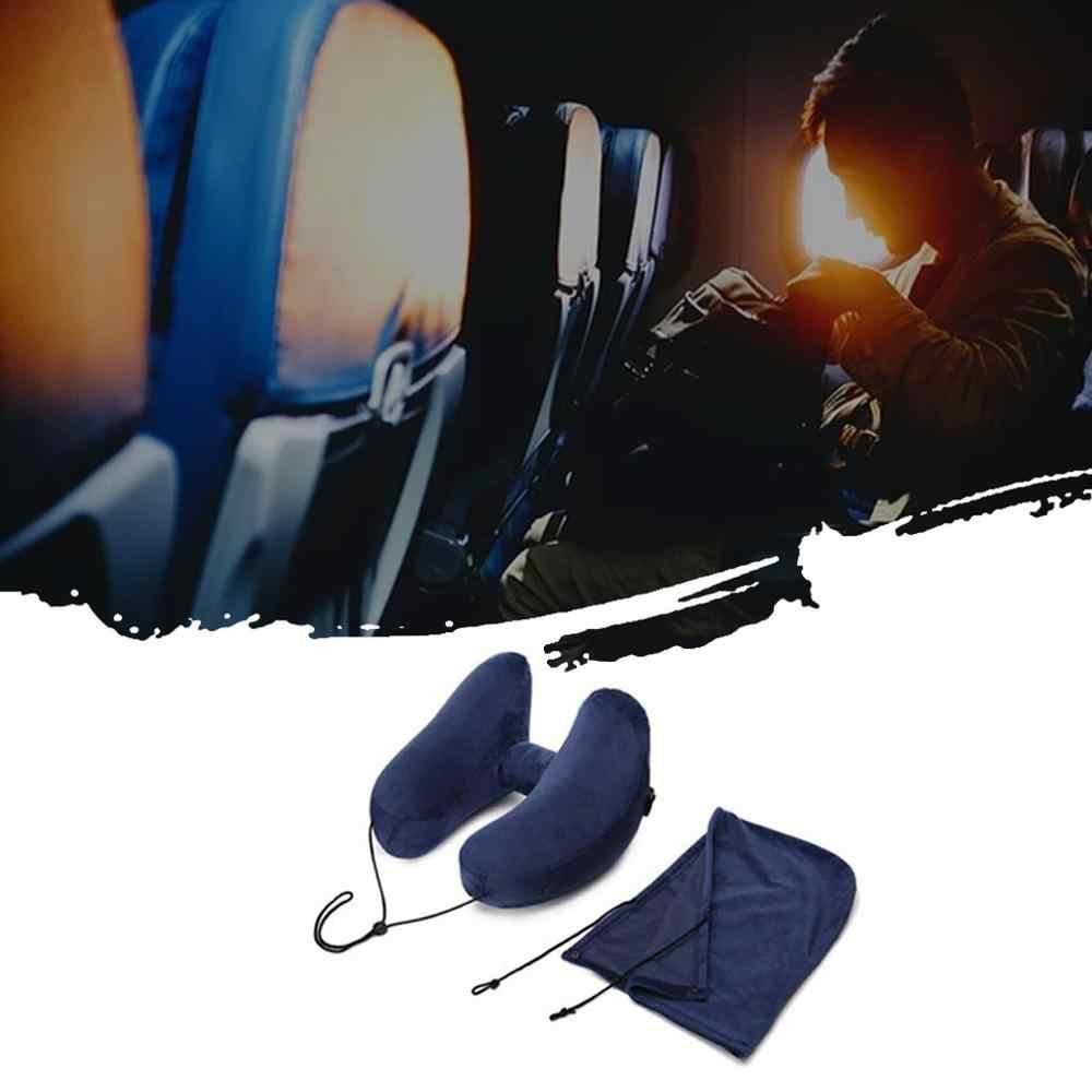 غطاء خارجي للسيارة لمسافات طويلة السفر H-نوع نفخ وسادة مع قبعة الرقبة وسادة قيلولة وسادة مقنعين تي بي يو H-شكل