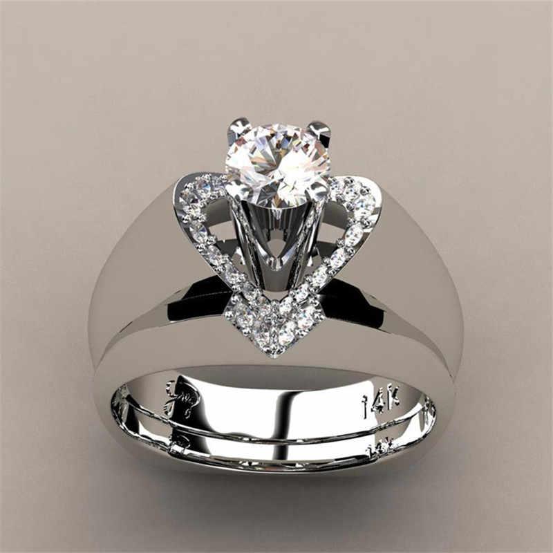 Брендовое женское свадебное кольцо с кристаллами, набор роскошных 925 пробы серебряных обручальных колец, винтажные Свадебные Кольца для женщин