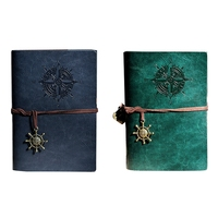 HOT-2x Retro Personality Notebooks Journal Notepads Ring Binder Diary Notebook S Green & Blue
