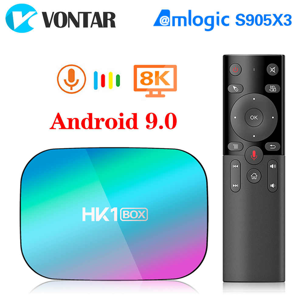 HK1 SCATOLA di 8K Amlogic S905X3 4GB di RAM 64GB TV BOX Android 9.0 Set Top Box 1000M doppio di Wifi 4K Youtube Netflix Smart TV Box 4G 32G