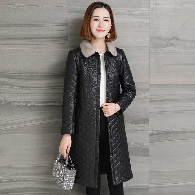 Nerz Pelz Kragen Echte Echtem Leder Jacke Frauen Kleidung 2020 Schaffell Mantel Frühling Herbst Koreanische Vintage frauen Mantel ZT2376