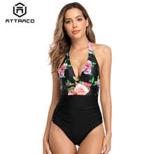 Attraco Women One Piece Swimsuit Strappy Bandage Swimwear Backless Bikini Bathing Suit Beachwear Monokini front bow-knot dress knot front two piece swimwear