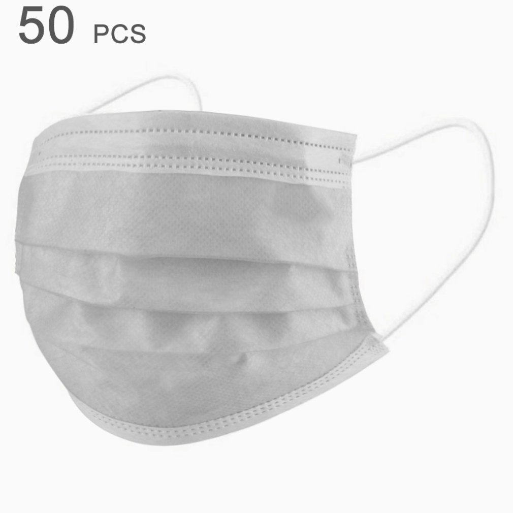 10/50pcs Disposable Breathable Mask Anti-Fog Dust-Proof Comfortable Face Masks White Non-woven Melt Blown Three-layer Mask