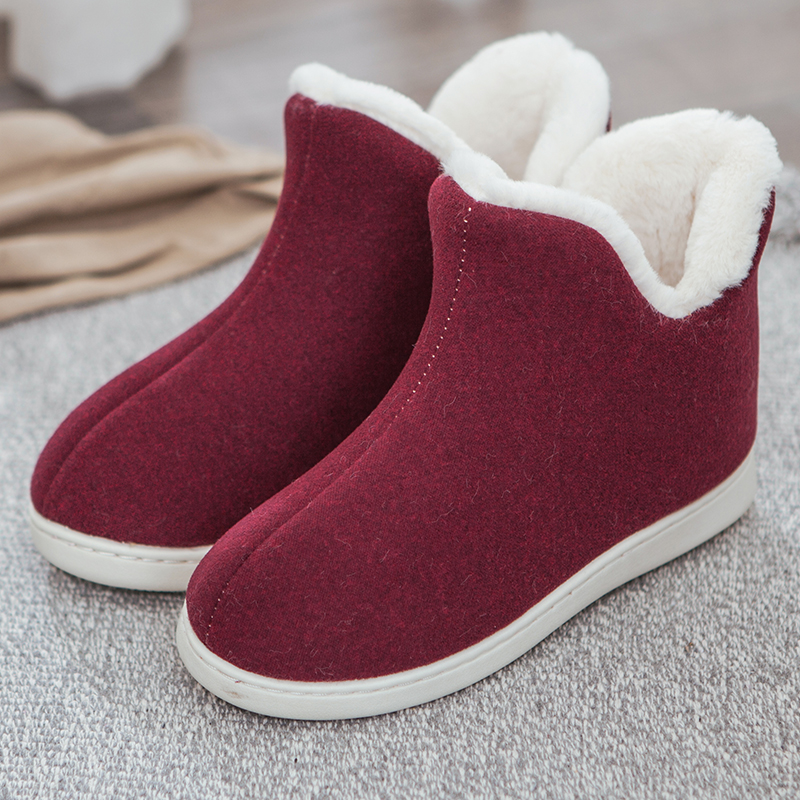 ENMAYLA Round Toe Slip-On Snow Boots Flock Flat Womens Shoes Solid Plush Shallow Women Boots Large Size Multi-color Optional  - buy with discount