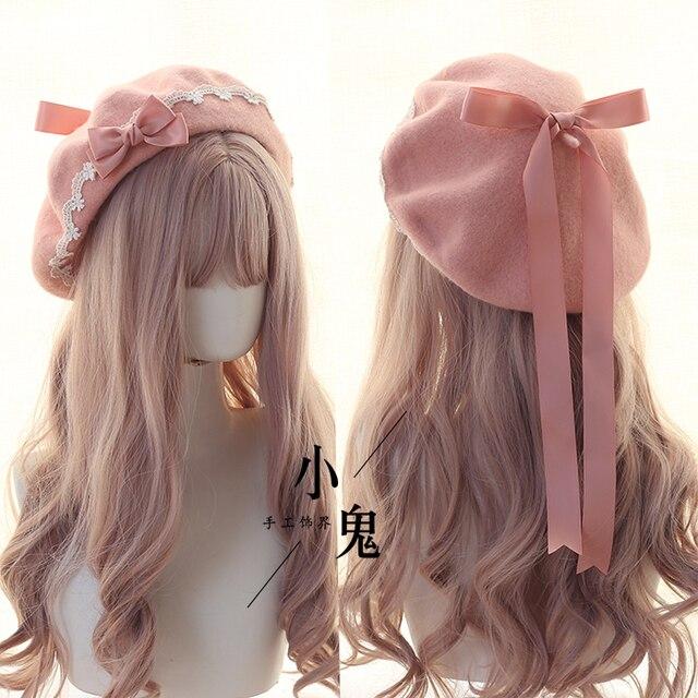 יפני Kawaii כומתה כובע לוליטה בגיל ההתבגרות לב מתוק צמר בעבודת יד חמוד תחרה Bowknot חם סתיו חורף צייר כובע כיסוי ראש