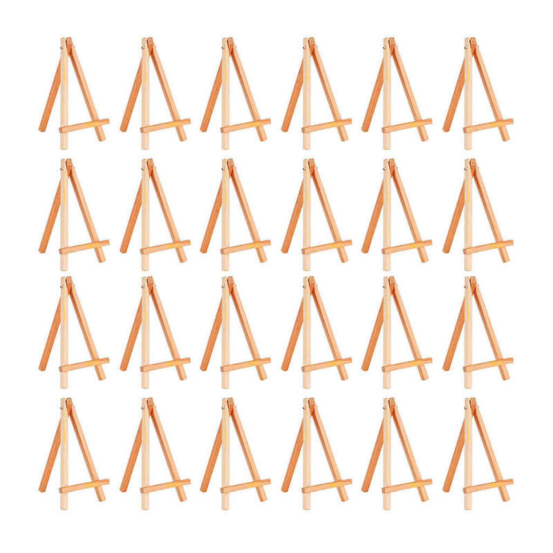 24 Pack Mini Wood Display Easel Wood Easels Set For Paintings Craft Small Acrylics Oil Projects