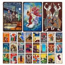Letrero metálico de estaño de alta calidad para decoración de pared, paisaje de ciudad, Cuba, Singapur, Havana, placa, pintura de hierro para casa, oficina y Hotel