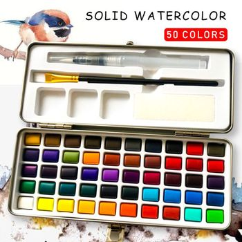36 colors art solid pigment professional box with paintbrush portable set portable colored pencils for drawing paint watercolors 50 Colors Solid Watercolor Paint Pigment Set Portable Metal Box for Adult Kids Beginner Drawing Art Supplies with Free Pen
