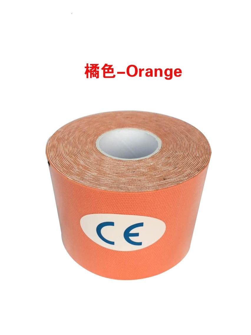 Кинезиологическая лента Атлетическая эластопласт спортивная водонепроницаемая лента медицинская терапия самоклеющаяся повязка на колено Защитная муфта для мышц L2147SPA - Цвет: Оранжевый