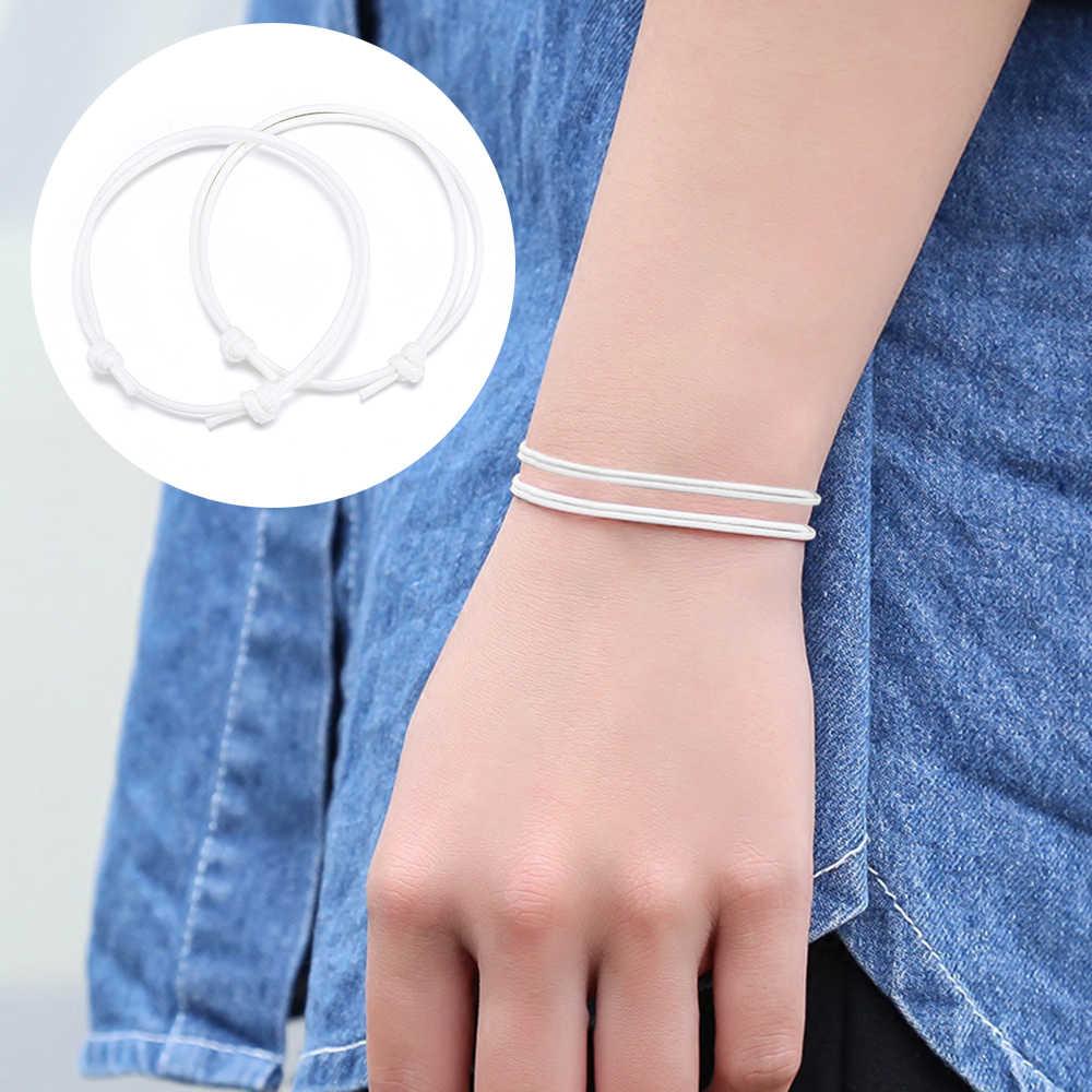 Proste 2 sztuk/zestaw kobiety mężczyźni Handmade obrączki regulowany liny szczęście kostki bransoletka dla mężczyzn Bracciali para Pulsera Amuleto
