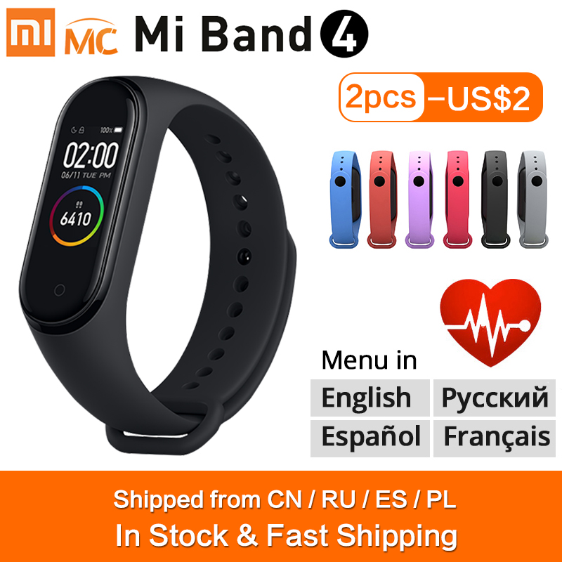 Original Xiao mi mi Band 4 Smart Armband mi band 4 Smart Band Fitness Traker Farbe AMOLED Screen Bluetooth 5,0 sport Wasserdicht