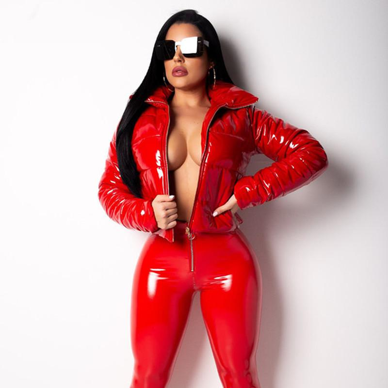 Fashion Winter Patent Leather Bubble Coat Women Zipper Waterproof Cotton-padded Red Puffer Jacket Woman Parkas Plus Size