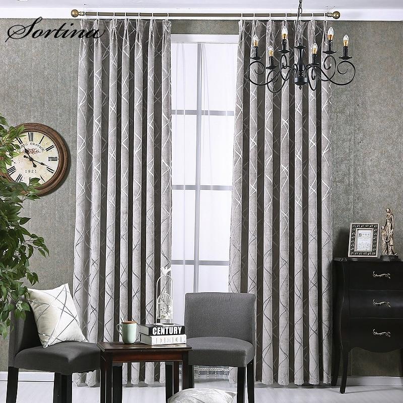 Room Window Blackout Grey Lounge Curtain Ready Bedroom Living Room Door Roman Christmas Jacquard Chenille Curtain Short Drapes
