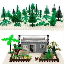 Городской аксессуар строительные блоки военное оружие зеленый куст цветок трава дерево растения дом игрушка Совместимость LegoINGlys кирпич друзья