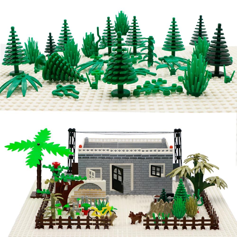 Город Военные Аксессуары строительные блоки MOC оружие DIY Зеленый куст цветок трава дерево растения Игрушки Друзья LegoINGlys город кирпичи