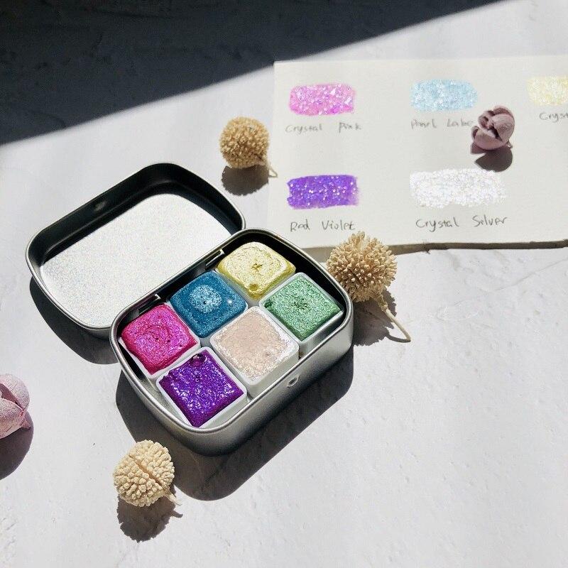 Alemanha pérola diamante pintura em aquarela glitter pintura manicure viagem conjunto metálico água cor mica pó pigmento