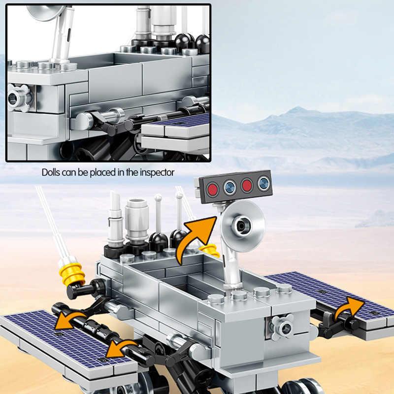 Şehir teknik ay Lander yapı taşları yaratıcı uzay gemisi araba modeli klasik film kozmonot rakamlar tuğla oyuncaklar çocuklar için