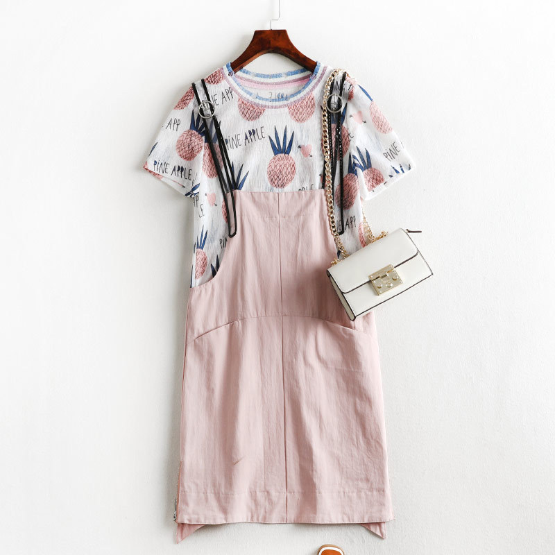 Summer Wear Chubby Sister Size Western Style Large Size Dress Suspender Strap Suit Dress Tibetan Meat By Age Short Sleeve T-shir