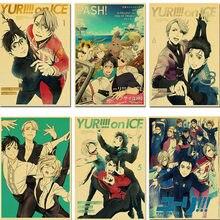 Cartaz de anime yuri!!! No gelo anime poster dos desenhos animados japoneses comic kraft papel retro poster casa/sala/barra arte adesivos de parede