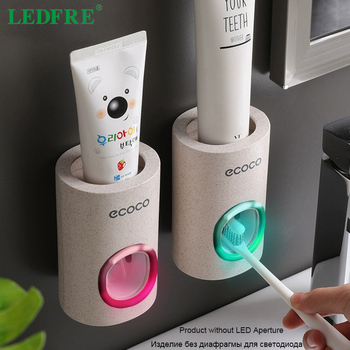 LEDFRE Automatic Toothpaste Dispenser Dust-Proof Toothbrush Holder Wheat Straw Wall Mounted Home Squeezer Bathroom accessories